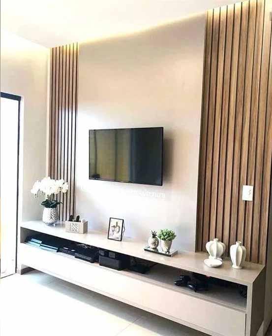 ديكور خشبي لحائط التليفزيون